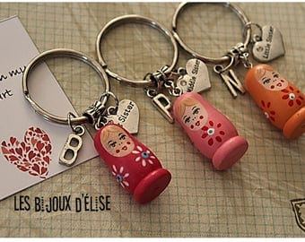 3 pcs Matryoshka Big Sister, Middle Sister, Little Sister Keychain Friendship Keychains Family Keychain (KC31-LOT 2)