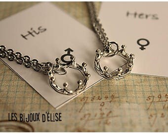 Set of 2 Couple  Her King His Queen Necklaces His and Hers Necklaces Boyfriend and Girlfriend Necklaces - Stainless Steel (CO82)