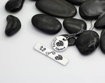 I Love My Marine Hand Stamped | Custom | Necklace