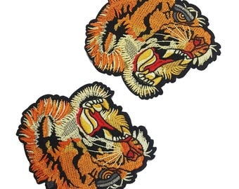 Embroidered Tiger Head Animal Patch Applique, Tiger Style Patch Applique for Sewing and Fashion