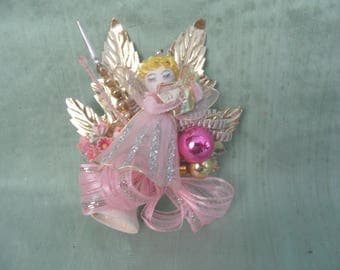 Pink and gold angel holiday corsage  / vintage Christmas corsage / OOAK / spun cotton angel