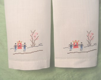Embroidered cross stitch linen guest hand towel set  / vintage white towel pair