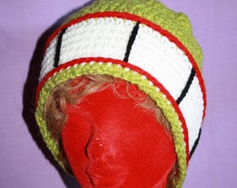 Hat with lime green crochet headband wide deep