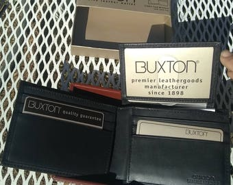 Wallet Buxton black genuine leather credit card billfold NOS new old stock with original box vintage