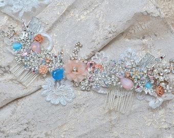 Swarovski crystal Peach Champagne Opal Blue, Blush Pink and Silver Classic Gatsby Vintage rose Bridal Hair Comb Lace Vine Piece Slide