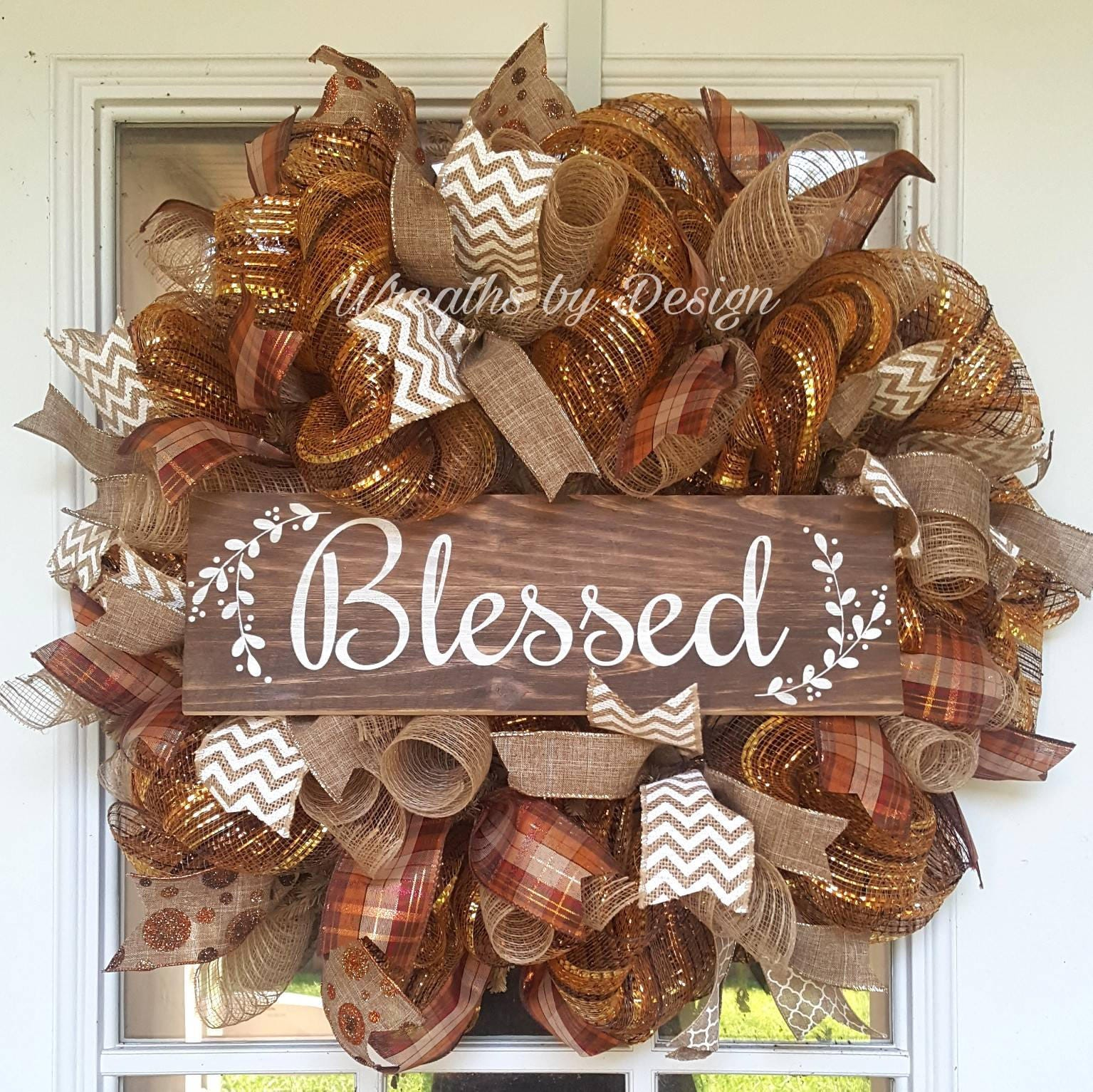 Wreath Blessed Wreath Mesh Wreath Fall Wreath Blessed Door
