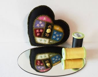 Handmade Pincushion Felted Wool Crazy Patch Heart on a Black Heart Pincushion