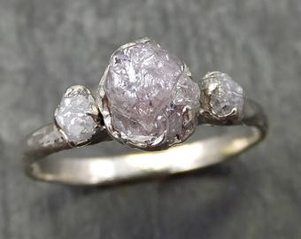 14k Raw Rough Diamond white gold Engagement Multi stone Three Ring Wedding Ring diamond Wedding Rough Diamond Ring byAngeline 0673