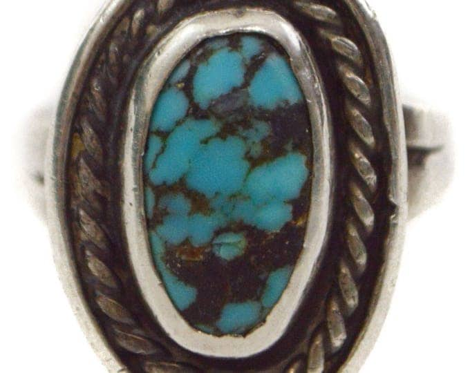 Vintage 80s Native American-Inspired Turquoise Small Ring