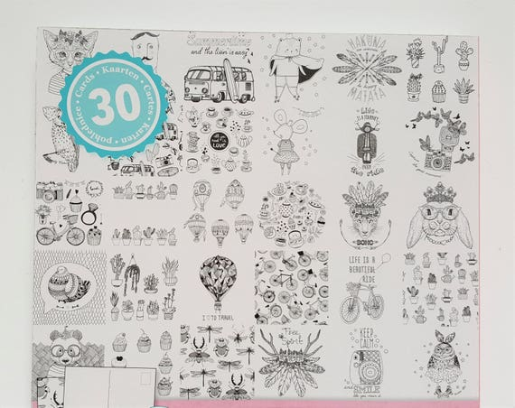 coloring postcards set of 30 cards colour your own postcard postcards diy coloring book 01