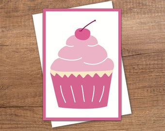 Greeting card: Cupcake | Birthday | Party | Pink | Blank inside