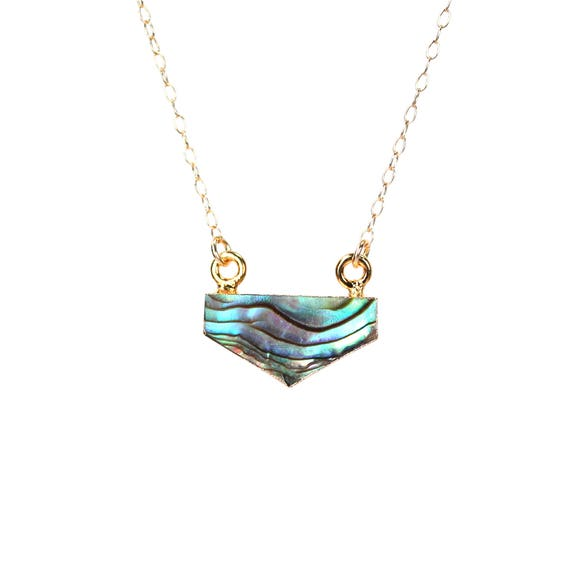 Chevron necklace - abalone necklace - triangle necklace - geometric necklace