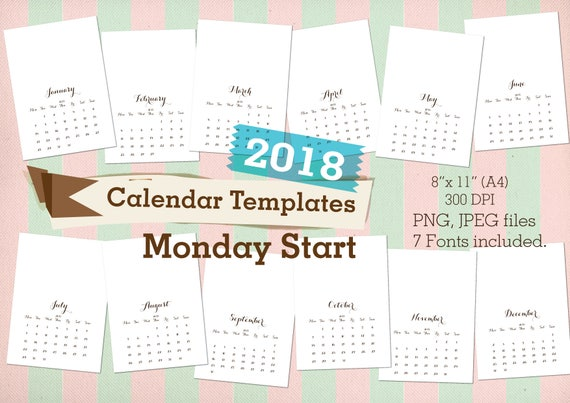 2018 Calendars Templates MONDAY START Commercial use