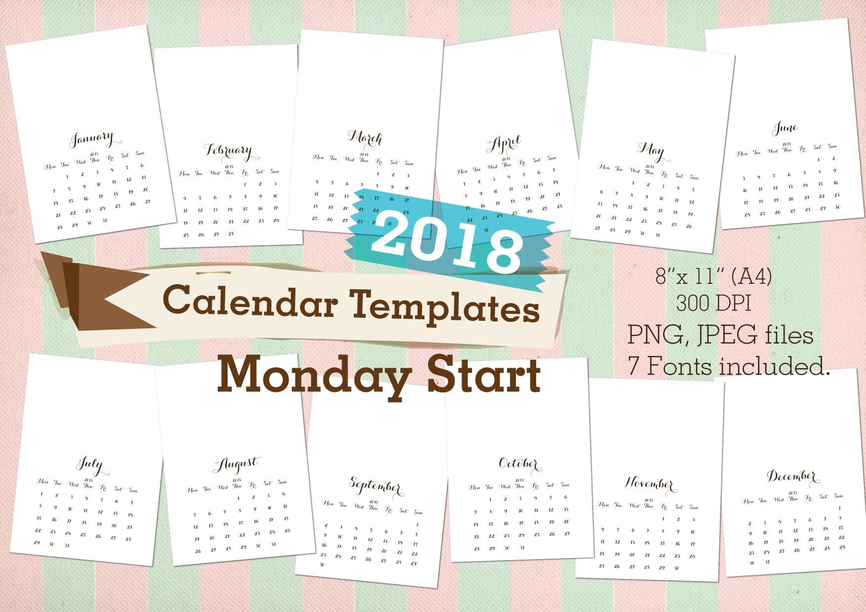 Monthly Calendar Monday Start : Calendars templates monday start commercial use
