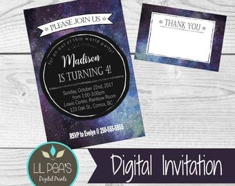 Galaxy Party Invitation, Outer Space Birthday Invitation, Space Theme Party, Galaxy Birthday Party, Out of This World Party Invitation