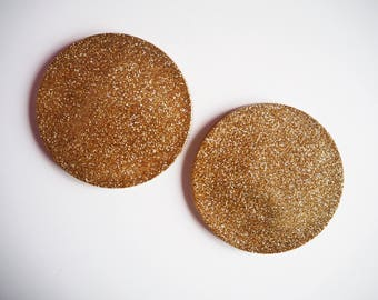 Gold Glitter Coasters, Sparkly Gold Coaster Set, Gold Glitter Home Accessories, Sparkly Gold Resin Coasters, Pack of Two Glitter Coasters,