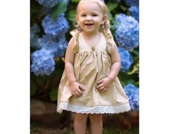 Ivory Flower girl dress - Ivory Flutter Sleeve Dress - Girls party Dress - Baby Girls Birthday Dress -Country Flower girl Dress -baby photo