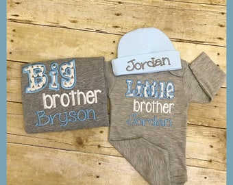 Personalized brother shirts. Little brother bodysuit and beanie set. Grey and blue brother shirts. Embroidered little brother shirt.