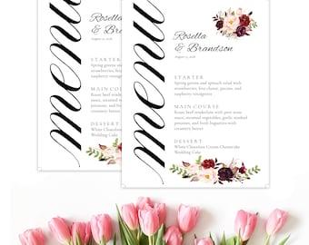 Marsala Menu, boho food menu, marsala wedding menu. Burgundy menu, floral wedding menu, digital menu card, long tea menu, marsala, A100