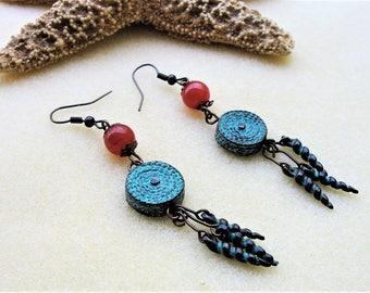 Tangy Bohemian Copper,Earrings,Boho Jewelry,Copper Earrings,Topaz Gemstones,Boho Jewelry,Gift For Her,Beaded Earrings,Dangle Earrings,Gift