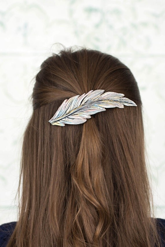 Silvery Feather Clip, Hair Clip Barette