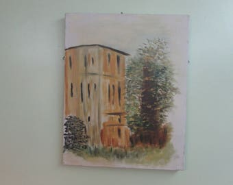 Small Italian Impressionist Oil Painting, a rendering of a Small Apartment Biulding