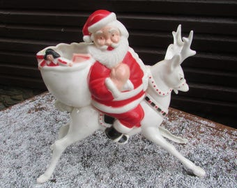 Old HI HO Santa. SANTA on a Reindeer.  Hard Plastic Santa Claus in Excellent Vintage Condition.