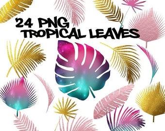 50% SALE Tropical leaves clipart, gold foil leaf clipart, rose gold leaves clip art, galaxy tropical leaves clip art, gold foil clip art, tr