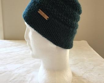 Wool knitted beanie, green beanie, women's beanie, men's beanie, winter beanie, winter hat, knitted hat, green hat.