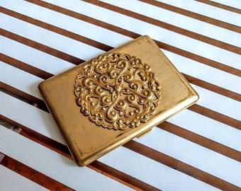 brass cigarette case with filagree -- vintage cigarette case