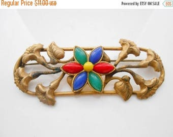 Art Nouveau Brooch Trumpet Flowers Glass Beads