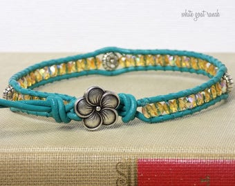 Anklet, flower anklet, honey glass beads, turquoise leather, flower charms, flower button