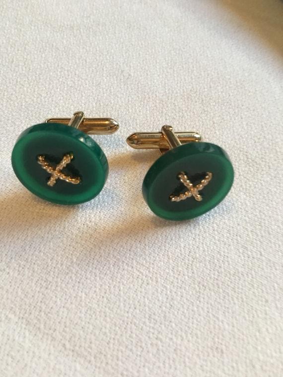 Striking Vintage Mid Century Jade or Jadite  & Goldtone Asian Siam Styled Elegant Modernist Cuff Links