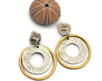 Large round earrings, Clip on dangle earrings, Hammered earrings, Silver earrings, Matt Gold earrings, Large earrings, Boho hoop earrings II