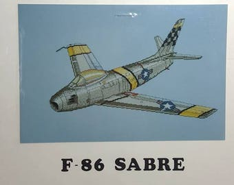 Cross Stitch Chart F-86 Sabre Counted Cross Stitch Chart Military Aviation Fighter Plane Needlework Craft