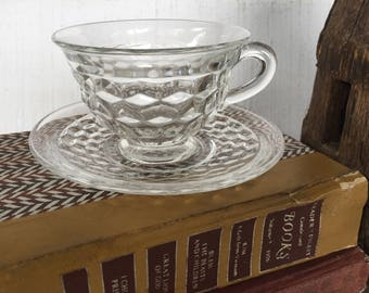 1 vintage crystal pressed glass cup and saucer American clear Fostoria glass, Early American crystal wedding table, mismatch cup and saucers