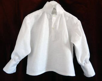 Child shirt with gathered sleeves and cuffs in white linen - 4t