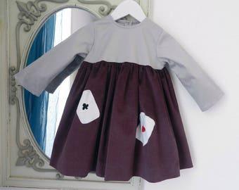 Baby dress long sleeved Garnet velvet top in grey cotton sateen - 2 years