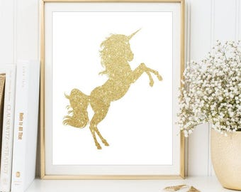 Gold Glitter Unicorn Print, Nursery Unicorn Printable Art, Children's Decor, Kid's Room Poster Unicorns Nursery Decor, DIGITAL FILES