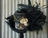 Steampunk Mini Top hat, Cog and Gear hat, Metal rivet hat, Alice in Wonderland Mini Top Hat, Tea Party Hat, Mad Hatter Hat, Clock hat