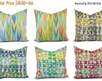 15% OFF SALE One Outdoor Pillow Cover - Orange and Blue Pillow - Patio Pillow - Outdoor Pillow - Gold Pillow - Grey Pillow - Yellow Pillow -