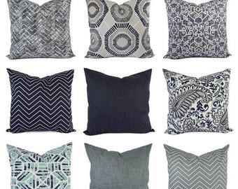 15% OFF SALE Decorative Pillow Cover - Blue Grey Pillow - Chevron Pillow - Solid Pillow Cover - Accent Pillow Cover - Navy Pillow - Grey Blu