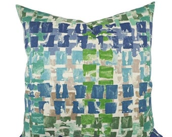 15% OFF SALE Two Outdoor Pillow Covers   Blue And Green Pillows   Patio  Pillows