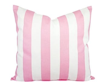 15% OFF SALE Light Pink Pillow - Two Pink Pillow Covers - Light Pink Striped Throw Pillows - Pastel Pink Pillow - Pale Pink Pillowcase
