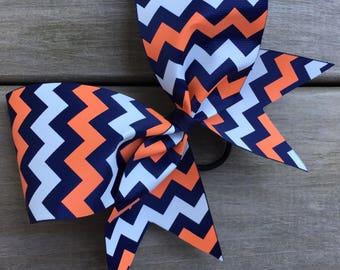 Navy, orange and white chevron bow.