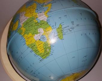 Vintage metal globe /globe/world globe / vintage globe /colourful tin/1960'S/ Made in USA/J.Chein and Co.