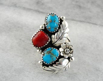 Native American Turquoise and Coral Ring, Nature Inspired Sterling Silver Ring, Silver Statement Ring, Turquoise Ring YRYW6C-P