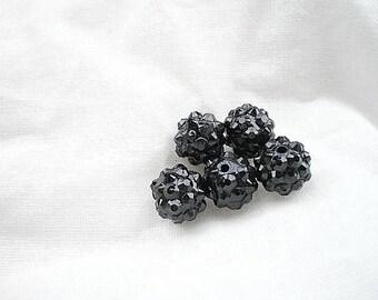 5 black 12mm shamballa beads