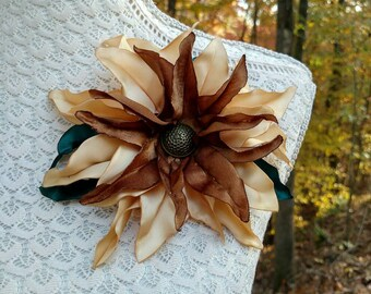 SALE!!! Champagne Lily-Handcrafted Fabric Flower Pin- Poinsettia Brooch