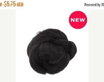 SALE 1 oz  Tussah Silk Roving, black